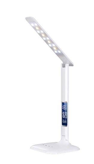 Solight LED stmievateľná stolná lampička s displejom, 6W, voľba teploty svetla, biely lesk