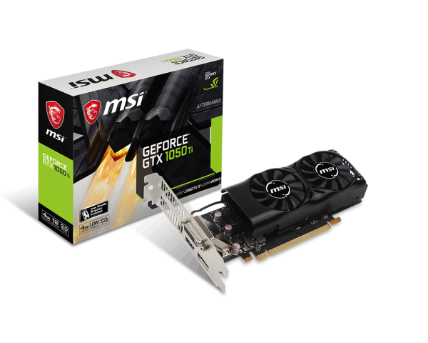 MSI GeForce GTX 1050 Ti 4GT LP, 4GB GDDR5, DP, HDMI, DVI, low profile