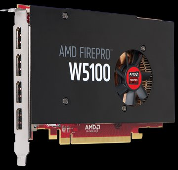 AMD FirePro Workstation Graphics W5100, 4GB/256-bit, GDDR5, 4xDP