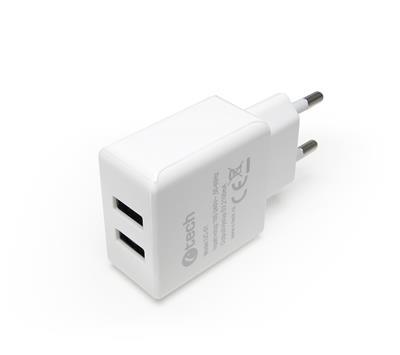 C-TECH nabíjačka adapter USB UC-01W, 2x USB, 2,1A, biela