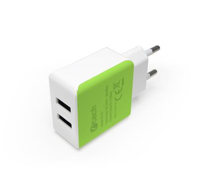 C-TECH nabíjačka USB UC-01WG, 2x USB, 2,1A, bielo-zelená