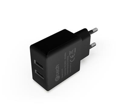 C-TECH nabíjačka USB UC-01B, 2x USB, 2,1A, čierna