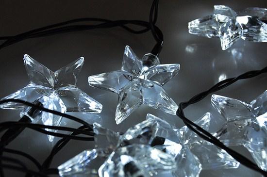 Solight LED vianočná reťaz, hviezdy, 20 LED, 3m, prívod 3m, IP20, biela