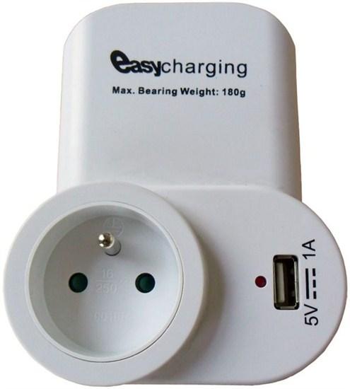 Solight USB nabíjací adaptér s priebežnou zásuvkou, 1000mA, držiak na telefón, biely