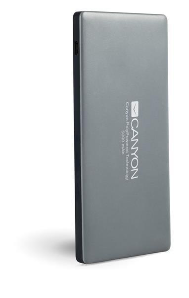 Canyon CNS-TPBP5DG Powerbank, ultratenká polymérová, 5.000 mAh, Lightning + microUSB vstup, 2 x USB výstup, šedá