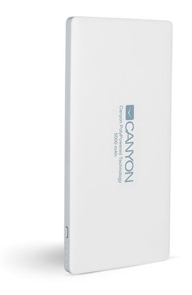 Canyon CNS-TPBP5W Powerbank, ultratenká polymérová, 5.000 mAh, Lightning + microUSB vstup, 2 x USB výstup, biela