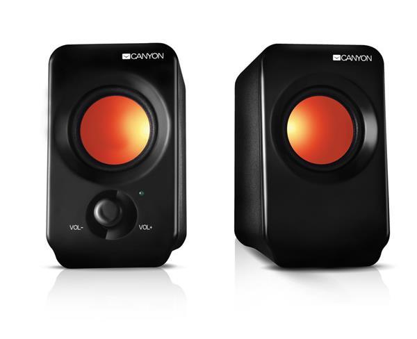 Canyon CNE-CSP202 reproduktory 2.0, USB napájanie, 3.5 mm mini-jack, ovlád. hlasitosti, čierne