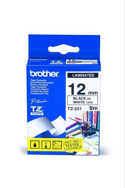 BROTHER TZe-231 čierna potlač/biela páska 12 mm
