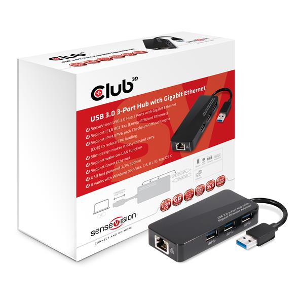 Club3D USB-3.0 to 3 x USB 3.0 + Gigabit Ethernet Adapter