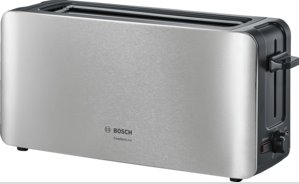 BOSCH_915-1090 W, termostat s časovačom, držiak na žemle, retoasting, rozmrazovanie, auto vyp., nerez/čierna