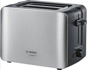 BOSCH_915-1090 W, termostat s časovačom, držiak na žemle, retoasting, rozmrazovanie, auto vypnutie, nerez/čierna