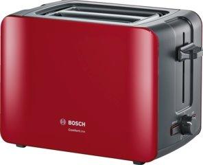 BOSCH_915-1090 W,termostat s časovačom,držiak na žemle, retoasting,auto vyp.,tepelne izolovaný plášť,červená/čierna
