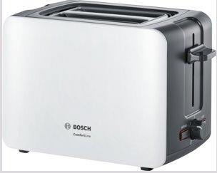 BOSCH_915-1090 W,termostat s časovačom,držiak na žemle, retoasting,auto vyp.,tepelne izolovaný plášť,biela/čierna