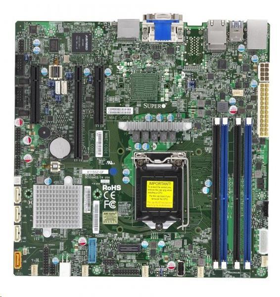 Supermicro X11SSZ-F, Intel C236 PCH chipset, 4 x SATA3, 2 x GbE LAN, 3 x PCI-E3.0