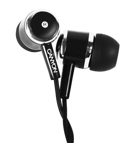 Canyon CNE-CEPM01B, slúchadlá do uší, pre smartfóny, integrovaný mikrofón a ovládanie, čierne