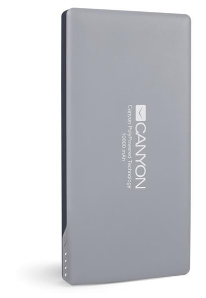 Canyon CNS-TPBP10DG Powerbank, ultratenká polymérová, 10.000 mAh, Lightning + microUSB vstup, 1 x USB výstup, šedá