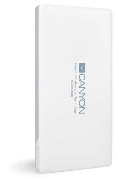 Canyon CNS-TPBP10W Powerbank, ultratenká polymérová, 10.000 mAh, Lightning + microUSB vstup, 1 x USB výstup, biela