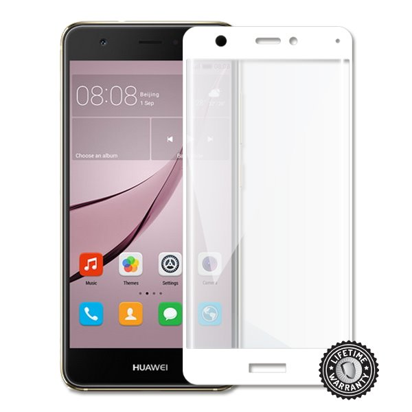Screenshield Nova CAN-L11 Tempered Glass protection (full COVER White metalic frame) - Film for display protection