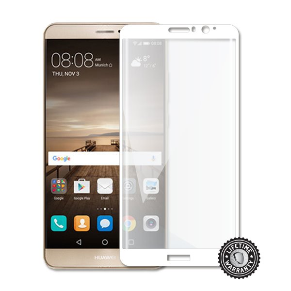 Screenshield Mate 9 (full COVER White metalic frame) Tempered Glass protection - Film for display protection