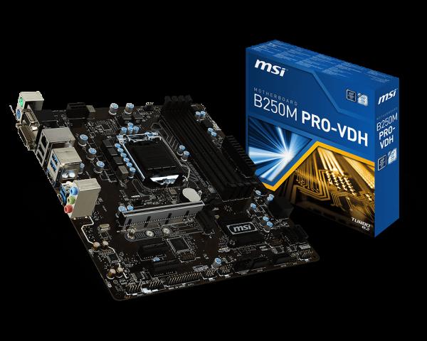MSI B250M PRO-VDH/Socket 1151/DDR4/USB3.1/DSUB/DVI-D/HDMI/8111H/mATX