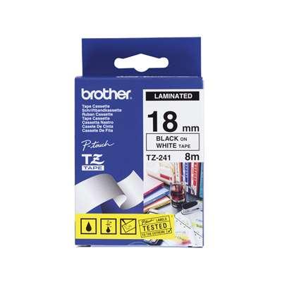BROTHER TZe-241 čierna potlač/biela páska 18 mm