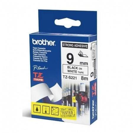 BROTHER TZe-S221 čierna potlač/biela páska 9 mm adhézna (silne priľnavá)