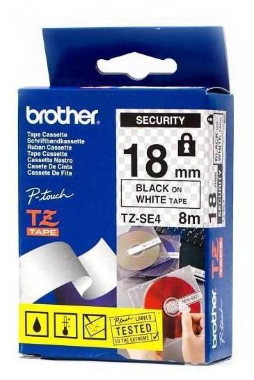 BROTHER TZe-SE4 čierna potlač/biela páska 18 mm security