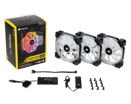 Corsair HD120 RGB LED High Performance 120mm PWM Fan — Three Pack with Controller