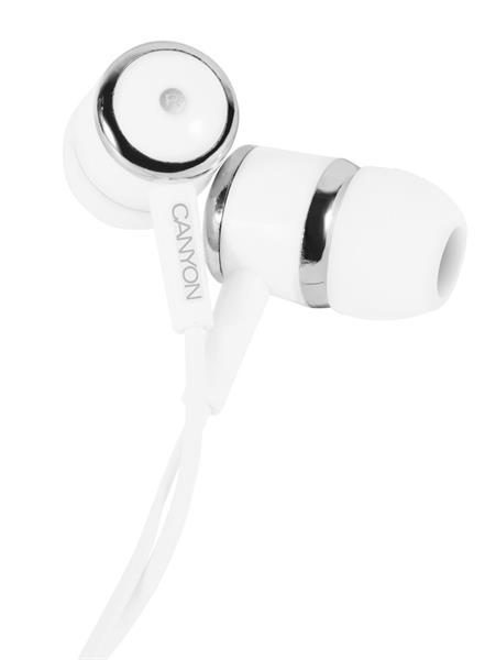 Canyon CNE-CEPM01W, slúchadlá do uší, pre smartfóny, integrovaný mikrofón a ovládanie, biele