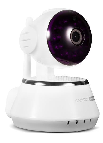 Canyon CNSS-CM1W Smart HD kamera, Indoor, Wi-Fi, špeciálne na dohľad domácnosti, širokouhlé natáčanie, biela