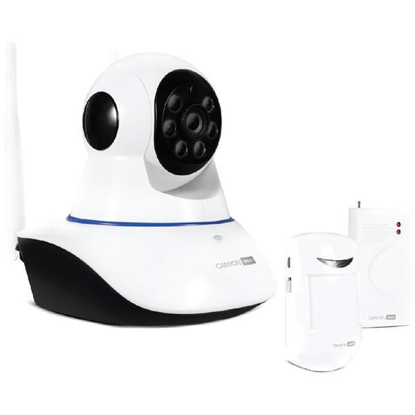 Canyon CNSS-KA1W sada Smart HD kamera, Indoor, Wi-Fi, LAN + senzory, bezpečnostný systém na dohľad domácnosti, biely