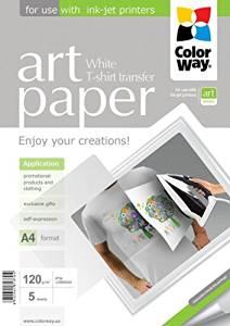 ColorWay Nažehľovací papier na svetlý textil 120g/m, A4, 5ks
