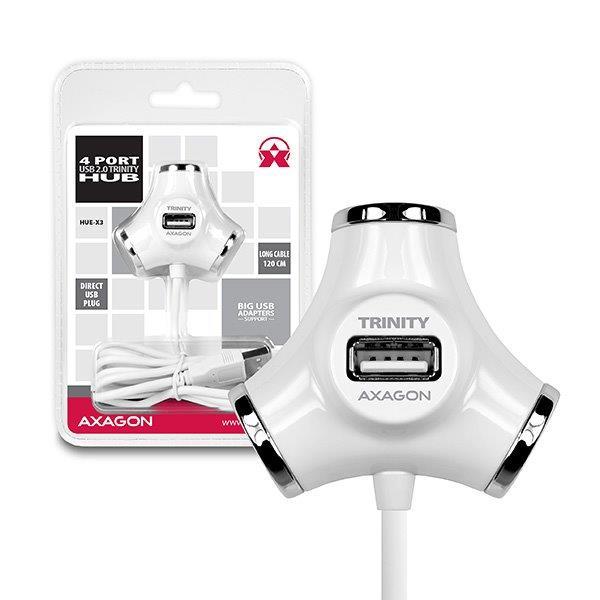 AXAGON HUE-X3 4x USB2.0 TRINITY WHITE hub