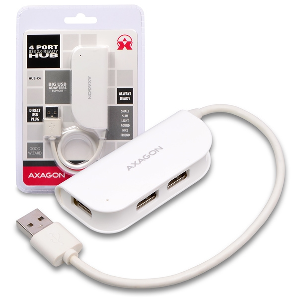 AXAGON HUE-X4 4x USB2.0 READY WHITE hub