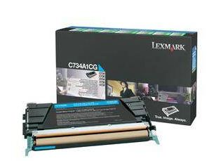 Lexmark C734, C736, X734, X736, X738 Cyan Return Program Toner Cartridge, 6K