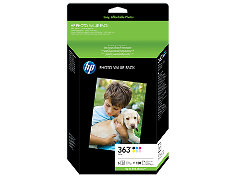 HP 363 Series ink 6ks + 150ks 10x15 Photo Paper Value Pack