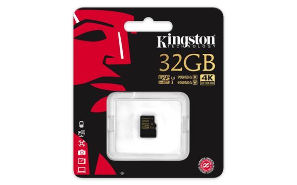 32 GB . microSDHC karta Kingston Class U3 UHS-I (r90MB/s, w45MB/s) bez adaptéra