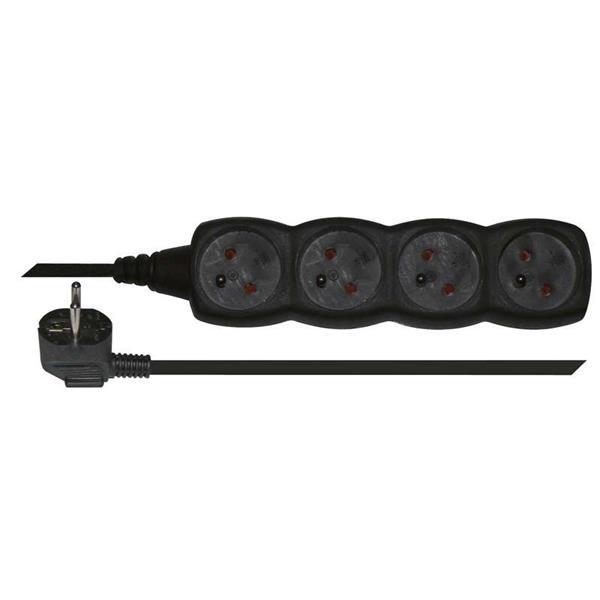 Kábel predlžovací 220V/230V, 4 zásuvky, 5m PC0415 čierny