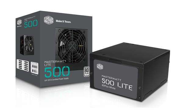 CoolerMaster MasterWatt Lite 500W, APFC, 12cm fan, 85 Plus čierny