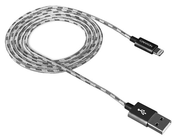 Canyon CNE-CFI3DG, 1m kábel Lightning/USB, bez Apple certifikácie MFi, opletený, tmavošedý