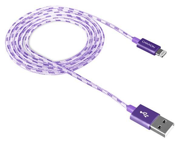 Canyon CNE-CFI3P, 1m kábel Lightning/USB, bez Apple certifikácie MFi, opletený, fialový
