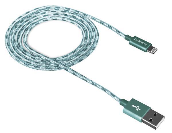 Canyon CNE-CFI3G, 1m kábel Lightning/USB, bez Apple certifikácie MFi, opletený, zelený