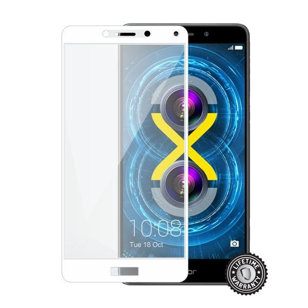 Screenshield HUAWEI Honor 6X Tempered Glass protection (full COVER WHITE metalic frame) - Film for display protection