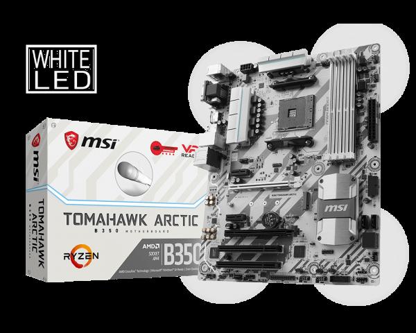 MSI B350 TOMAHAWK ARCTIC/Socket AM4/DDR4/USB3.1/DSUB/DVI-D/HDMI/DP/8111H/ATX