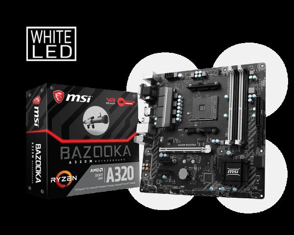 MSI A320M BAZOOKA/Socket AM4/DDR4/USB3.1/DSUB/DVI-D/HDMI/8111H/RAID/mATX