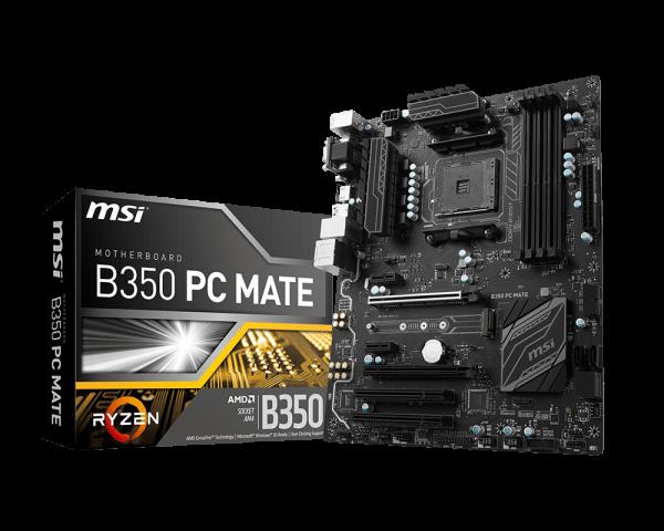 MSI B350 PC MATE/Socket AM4/DDR4/USB3.1/DSUB/DVI-D/HDMI/8111H/RAID/ATX