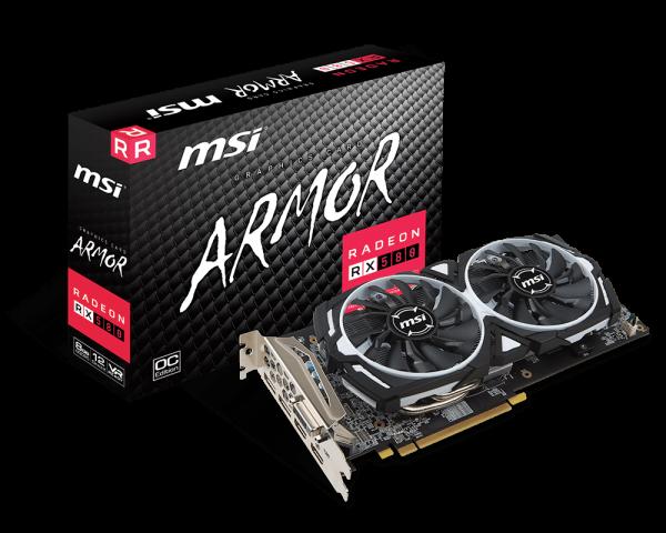 MSI Radeon RX 580 ARMOR 8G OC 8 GDDR5, 2x DP, 2x HDMI, DVI