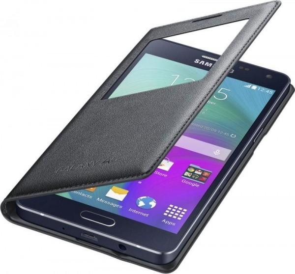 Samsung flipové púzdro S-view pre Samsung Galaxy A5 (SM-A500), čierne, rozbalene