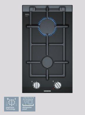 SIEMENS_30 cm, Domino plynový varný panel s ovládaním, 2 plynové horáky, stepFlame,sklokeramika