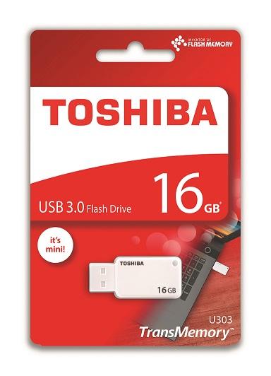 16 GB . USB 3.0 kľúč . TOSHIBA TransMemory biely